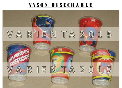 vasos plastico desechable- grandes heroes baymax- cotillon