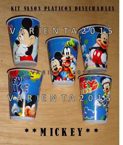 vasos plastico desechable - mickey - cotillon- presupuesto