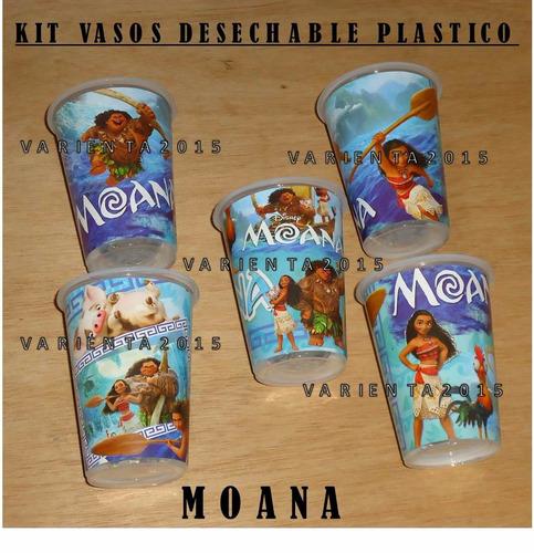 vasos plastico desechable- moana- fiesta cotillon