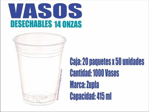 vasos plásticos desechables 14 onzas transparente+liso (147)