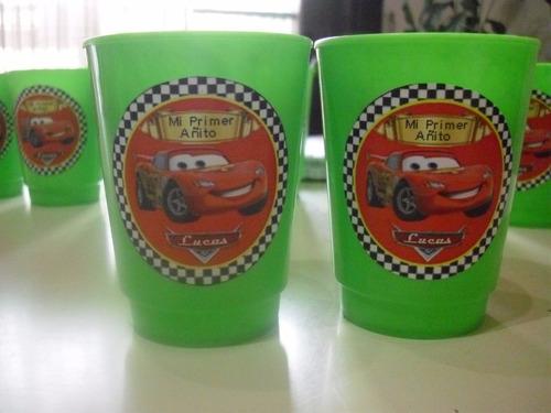 vasos plasticos personalizados cars cumpleaños 10u