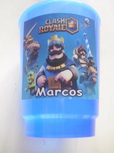 vasos plasticos personalizados clash royale cumpleaños 10u