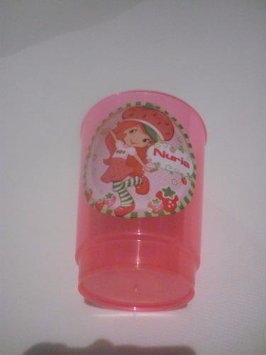 vasos plasticos personalizados frutillita cumpleaños 10u