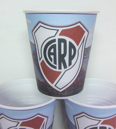 vasos river, futbol, plasticos descartables!!!