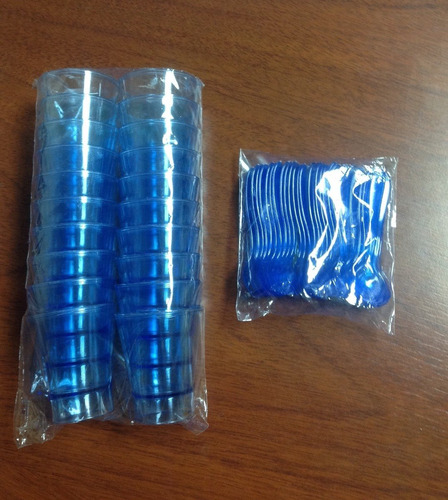 vasos shot cristal 1.5oz 20 unidades + 20 cucharas (azul)
