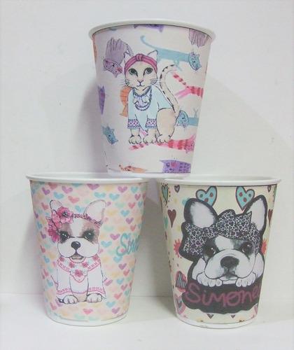 vasos simones, gatos & perros, plasticos descartables!!!