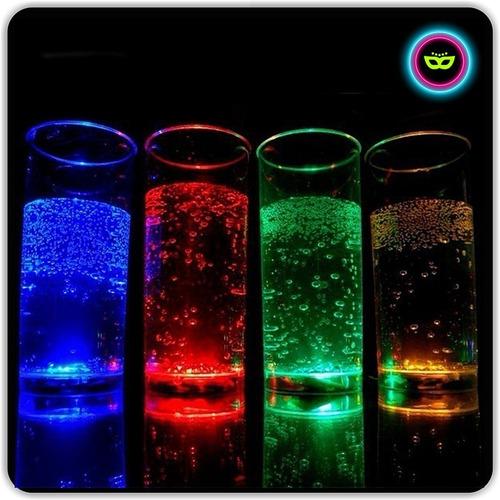 vasos trago largo luminosos led 6 unidades cambia color