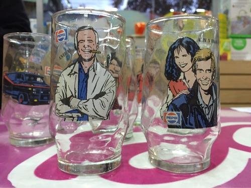 vasos vidrio brigada a retro 1980 coleccionables