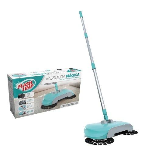 vassoura mágica mop flash limp verde 3 escovas+pano multiuso