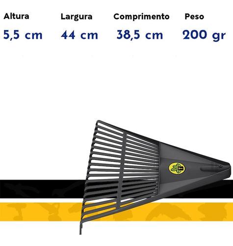 vassoura p/ jardim plastica 18 dentes c/ cabo 120cm