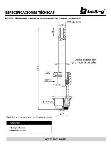 vastago ducha individual griven * grifocentro * gri-0037
