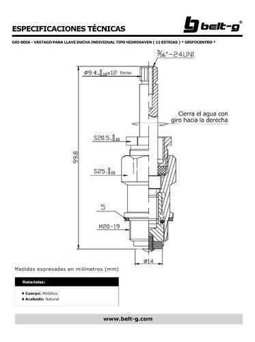 vastago ducha individual hidrosaven * grifocentro * gri-0056