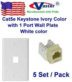 Ivory Color Vastercable 2 Pcs Cat5e Punch Down Keystone Jack RED Color with 2 Port Rj 45 Keystone Wall Plate