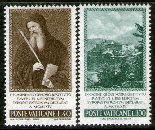 vaticano 2 sellos mint san benedicto patrono de europa 1965
