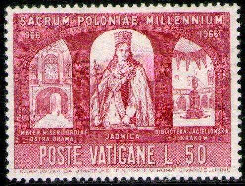 vaticano sello mint 1000° cristianización de polonia 1966