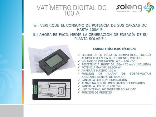 vatímetro medidor digital dc 100v 100a energía solar bateria