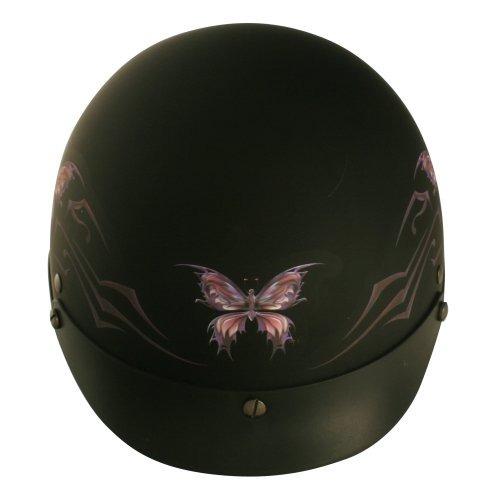 vcan v531 intrincado mariposa negro plano xlarge medio casco