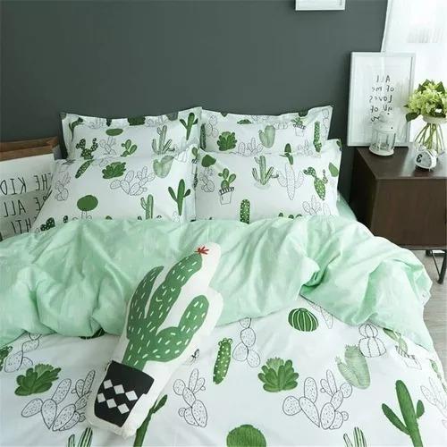 vclife 3 pcs sets de funda nórdica queen full green cactu...