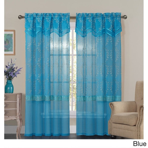 vcny evermadera embroidered sheer cortina panel