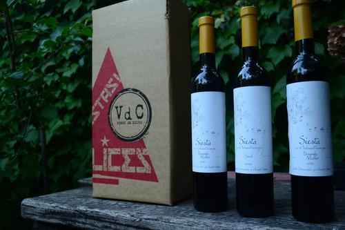 vdc box fiesta regalo empresarial de 3 vinos siesta de 500cc