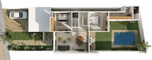vdr-17067 hermosa casa en venta en privada albarella en cholul mod. c