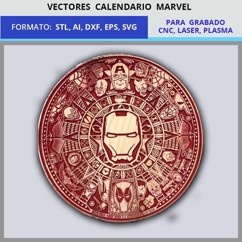 Calendario Vectores.Vectores Calendario Marvel Cnc Laser Plasma Dxf Ai Stl Svg
