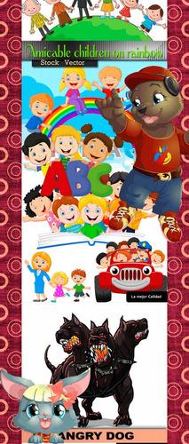 vectores de animales y niños, diseño, dibujos
