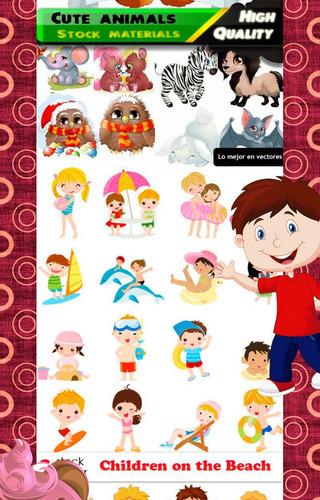 vectores de animales y niños, diseño, dibujos, serigrafia