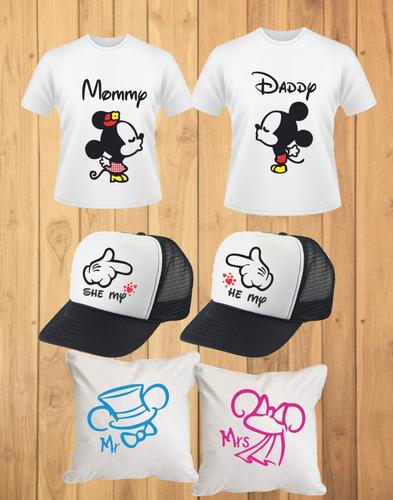 vectores de pareja mickey para tazas camisas cojin gorras