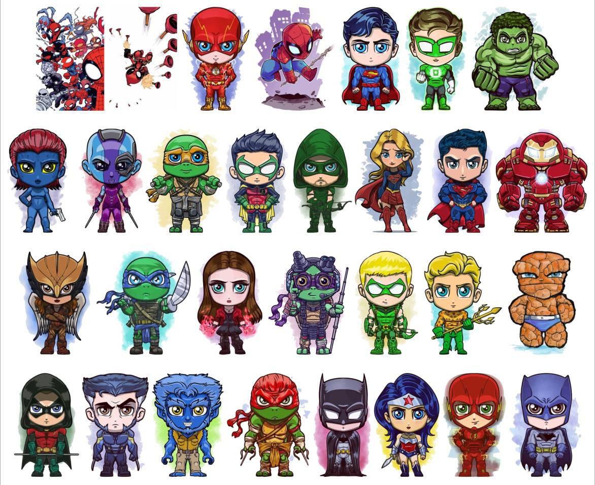 Vectores Superheroes Kawaii Exclusivo Excelente Calidad