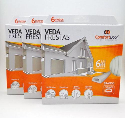 veda frestas para portas - d branco 6 metros - comfort door
