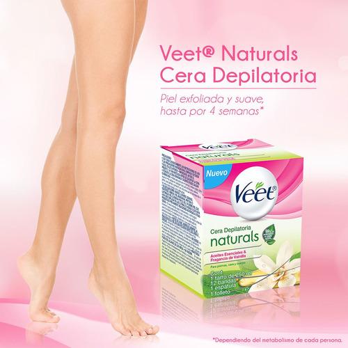 veet naturals depilatorio corporal en cera, tarro de 250 ml