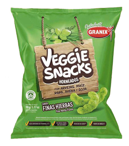 veggie snacks sabor finas hierbas horneados snack salado 90g