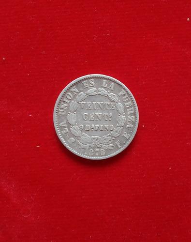 veinte 20 centimos de plata 9 decimos finos 1878 bolivia