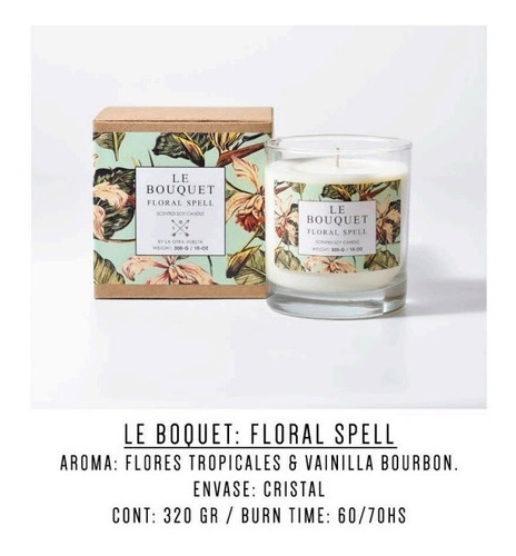 vela aromatica cera de soja bouquet floral