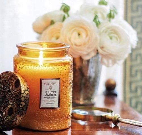 vela aromática voluspa frasco de vidrio moso bamboo