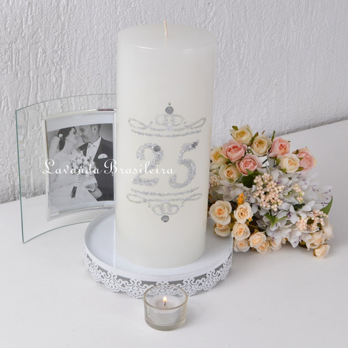 vela branca pilar bodas de prata luxo 12x29cm glitter strass