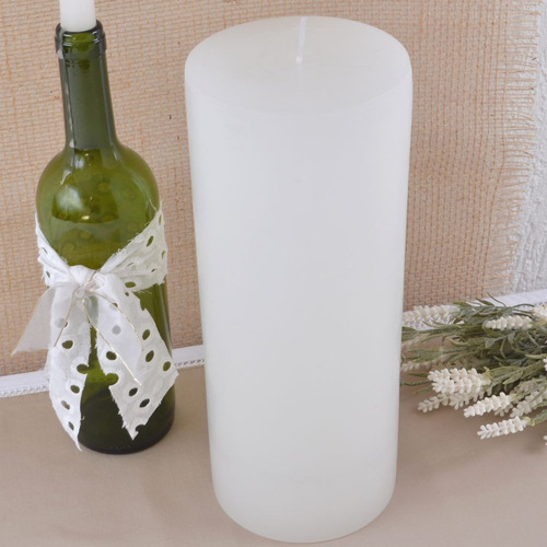 vela cilíndrica branca pilar grande 12x29cm artesanal