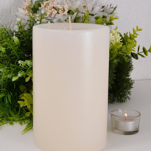 vela cilíndrica marfim pilar grande 12x19cm artesanal