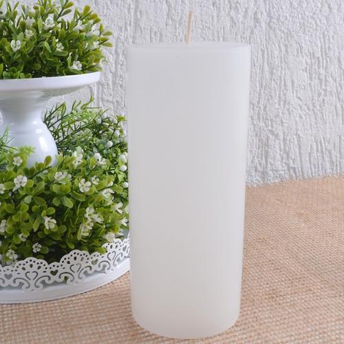 vela cilíndrica pilar branca 8x19cm decoração e altar