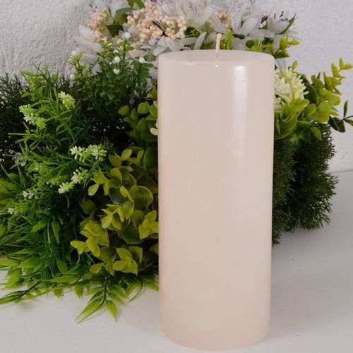 vela cilíndrica pilar pérola envernizada 8x19cm