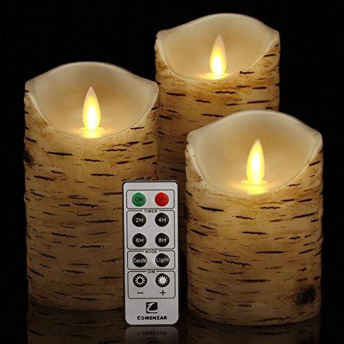 vela con pilas, velas parpadeantes juego de  birch bark bat