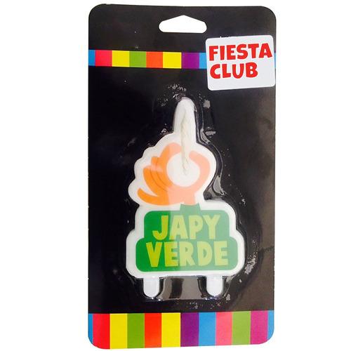 vela cumpleaños japy verde cotillon fiestaclub