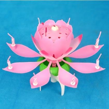 vela de cumpleños musical giratoria en forma de flor