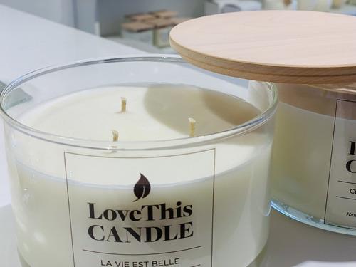 vela de soja xlarge con tapa de madera love this candle