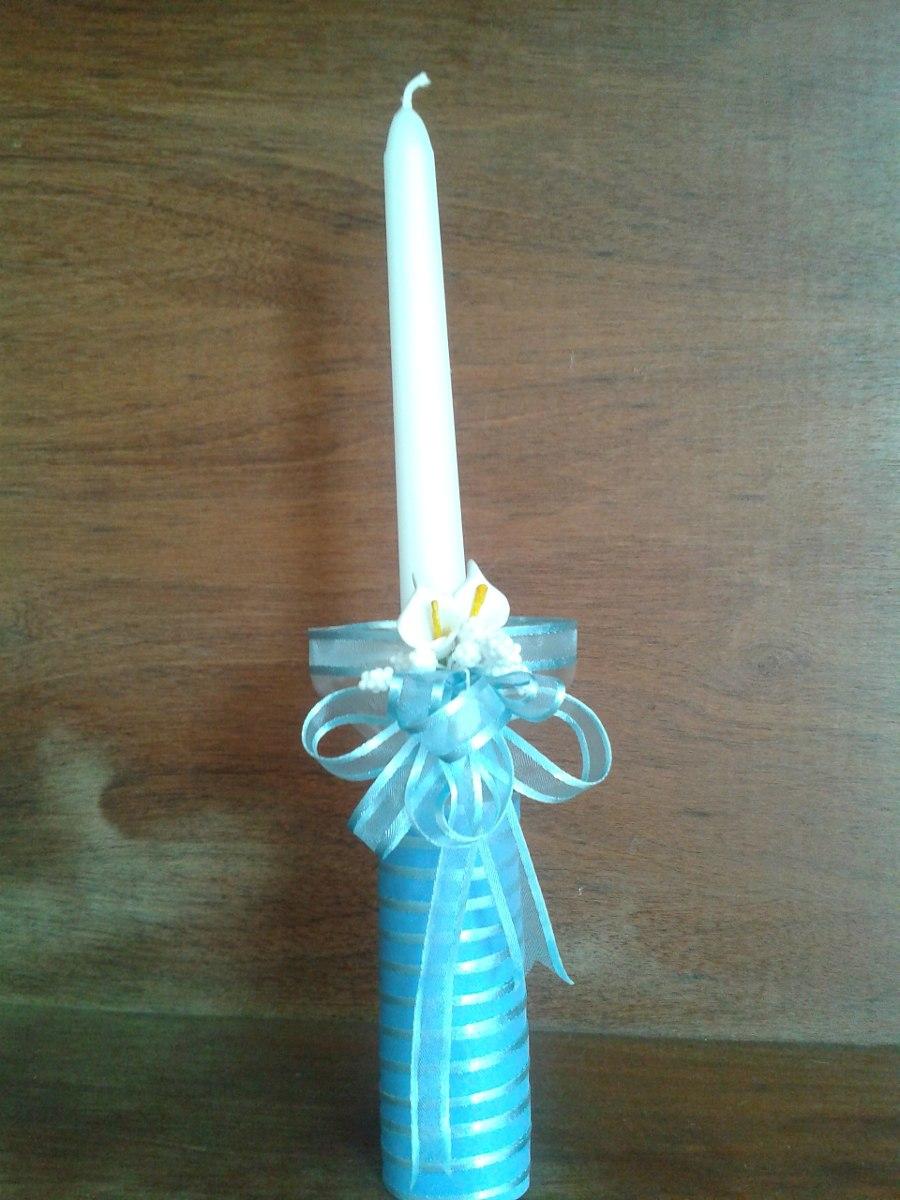 Vela decorada para bautizo y primera comuni n bs - Base de vela ...