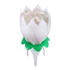 Vela Flor Musical Fixa Flor De Lotus Aniversário