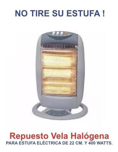 vela halógena repuesto para estufa eléctrica 400w de 22 cm.