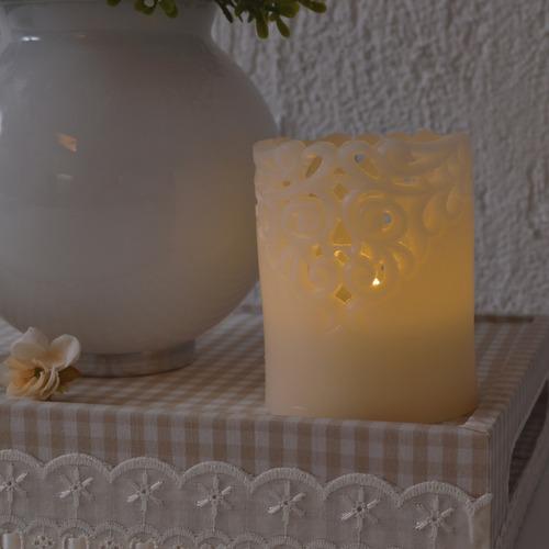 vela lanterna led parafina marfim entalhada chama amarela