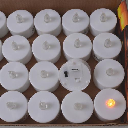 vela led chama amarela caixa 24 unidades botão liga/desliga